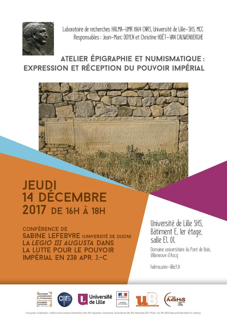 Affiche Conference Atelier epigraphie numismatique 14 decembre 2017 725x1024