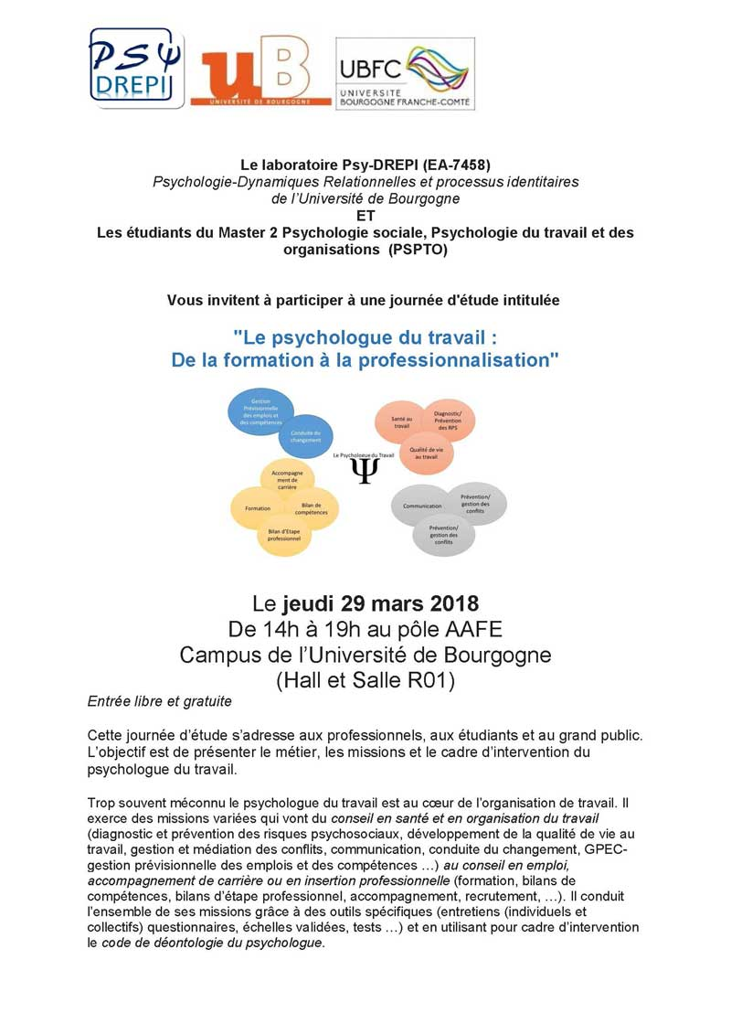 colloque psychologue formation professionnalisation Page 1