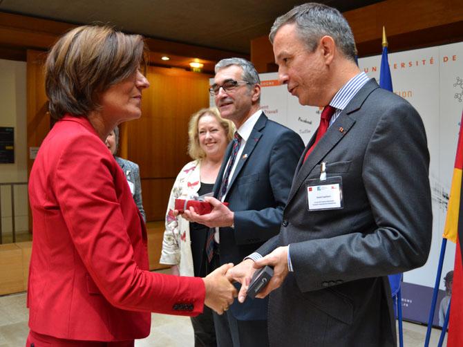 Malu Dreyer, Ministre-Présidente de la Rhénanie-Palatinat avec David Capitant, Vice-président de l'Université Franco-Allemande (UFA).