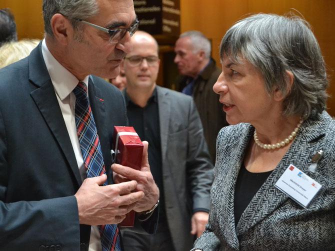Alain Bonnin, président de l'université de Bourgogne avec Mechthild Dreyer, vice-présidente de la Johannes Gutenberg-Universität Mainz.