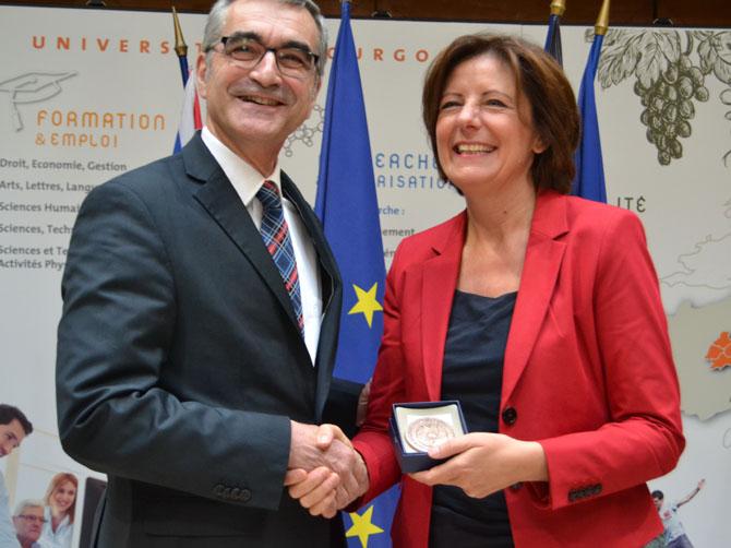 Alain Bonnin, président de l'université de Bourgogne avec Malu Dreyer, Ministre-Présidente de la Rhénanie-Palatinat.